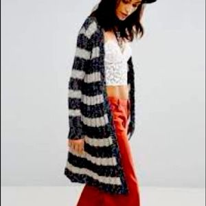 Free People Long Striped Open Cardigan Navy Size M